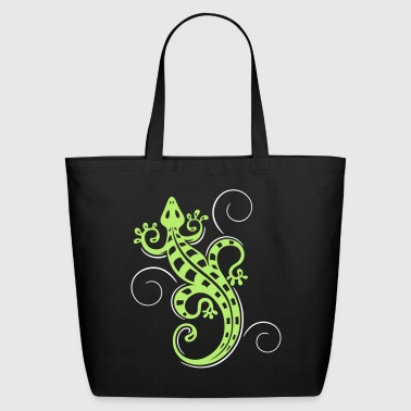 Big lizard, tribal and tattoo style. - Eco-Friendly Cotton Tote