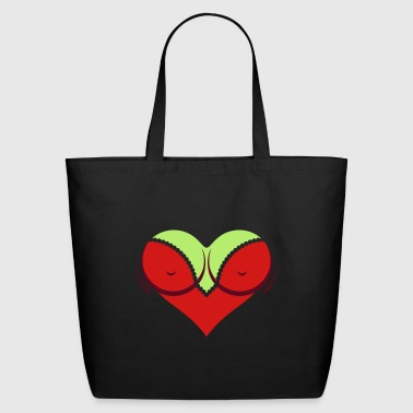 Heart-shaped Woman's Breasts With Deep Cleavage - Eco-Friendly Cotton Tote