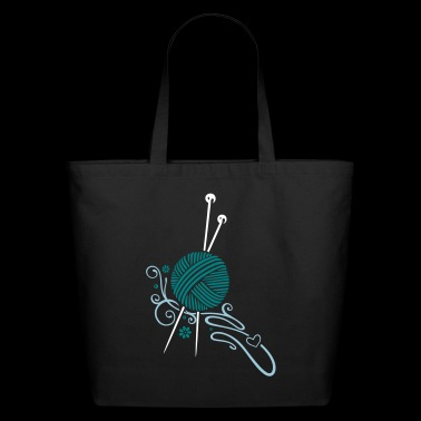 Knitting needles with wool and flowers. - Eco-Friendly Cotton Tote