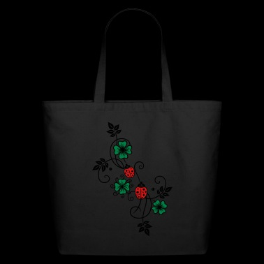 Tendril with shamrocks and ladybirds. - Eco-Friendly Cotton Tote