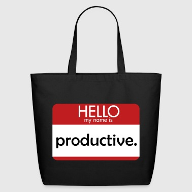 HELLO my name is productive - Eco-Friendly Cotton Tote