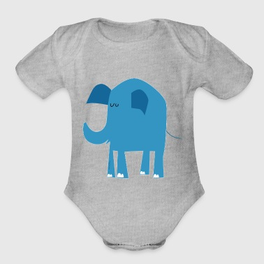 blue elephant - Organic Short Sleeve Baby Bodysuit