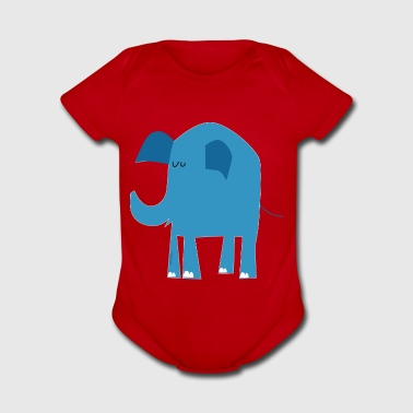 blue elephant - Short Sleeve Baby Bodysuit