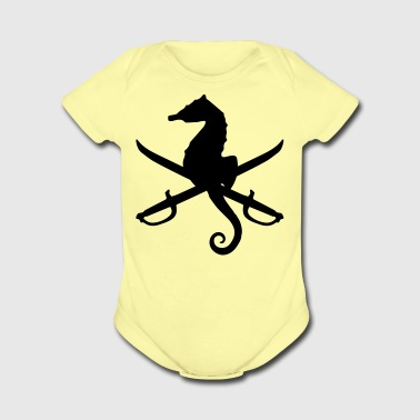 seahorse with swords - Short Sleeve Baby Bodysuit