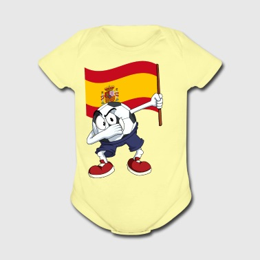 Spain Dabbing Soccer Ball - Short Sleeve Baby Bodysuit
