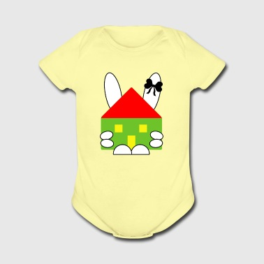 Rabbit and house - Short Sleeve Baby Bodysuit