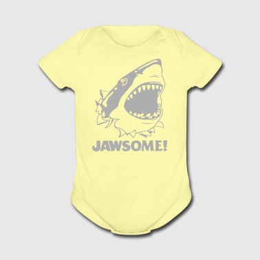 funny vintage soft Jawesome Jaws copy - Short Sleeve Baby Bodysuit