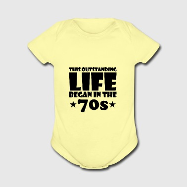 outstanding great life began 70s birthday age - Short Sleeve Baby Bodysuit