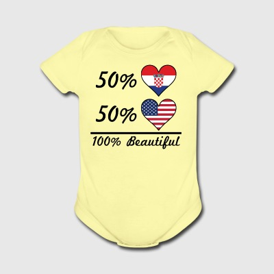 50% Croatian 50% American 100% Beautiful - Short Sleeve Baby Bodysuit
