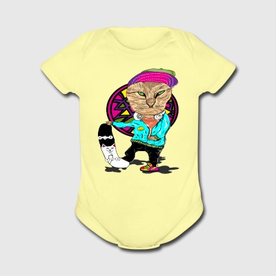 Skateboard Cat - Short Sleeve Baby Bodysuit