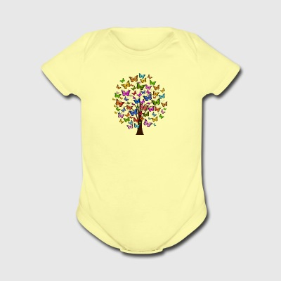 butterflies tree - Short Sleeve Baby Bodysuit