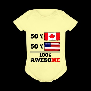 Half Canadian Half American 100% Awesome - Short Sleeve Baby Bodysuit