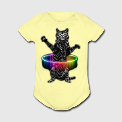 HULA HOOP CAT - Short Sleeve Baby Bodysuit