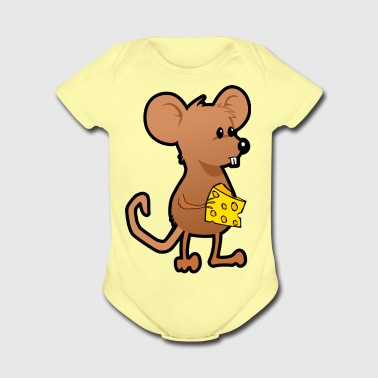 rat mouse with cheese maus ratte mit kaese - Short Sleeve Baby Bodysuit