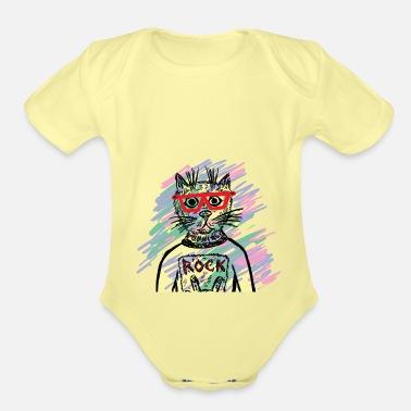 Shopping Rock Cat with glasses - Organic Short-Sleeved Baby Bodysuit