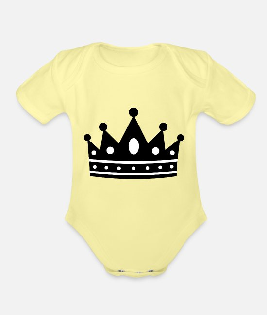 Royal Baby One Pieces - king-crown-clip-art-black-and-white-princess-royal - Organic Short-Sleeved Baby Bodysuit washed yellow
