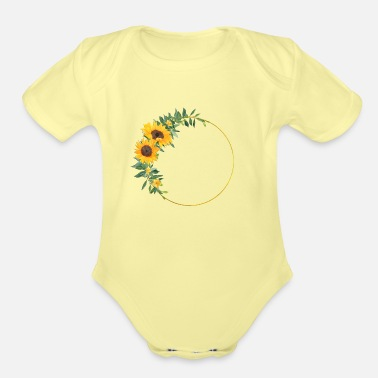Birth Name Sunflower wreath - Organic Short-Sleeved Baby Bodysuit