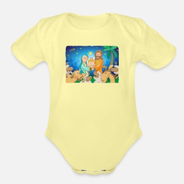 Jesus Sweet scene of the nativity of baby Jesus - Organic Short-Sleeved Baby Bodysuit