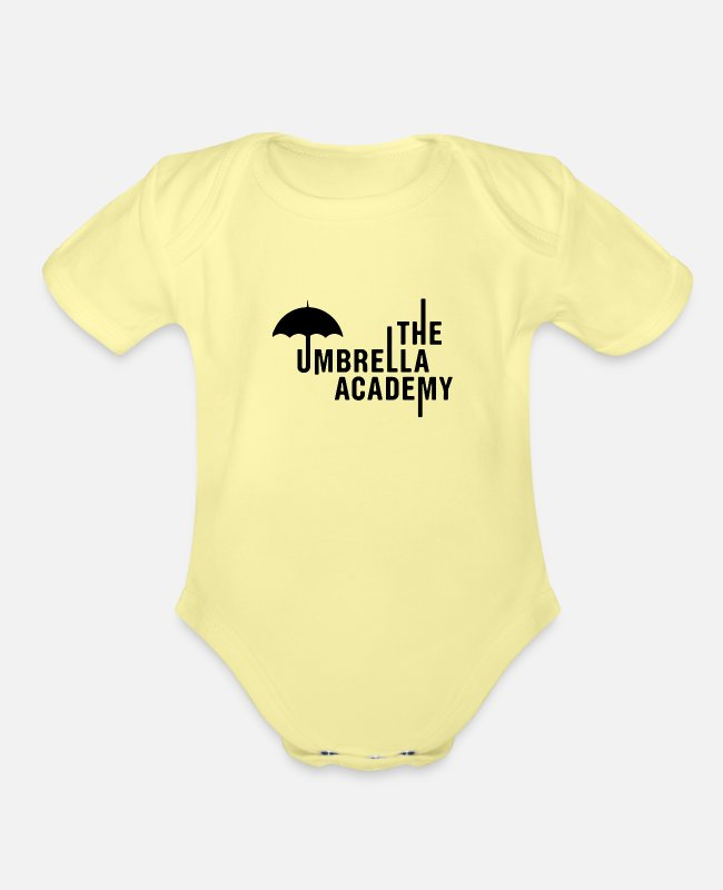 Cult Film Baby One Pieces - Cult of Klaus Umbrella - Organic Short-Sleeved Baby Bodysuit washed yellow