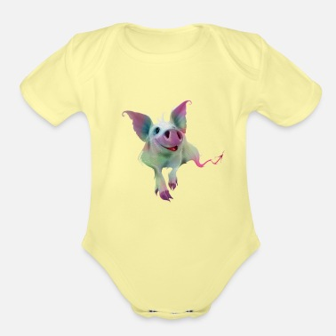 Psychedelic Psychedelic colorful Pig - Organic Short-Sleeved Baby Bodysuit