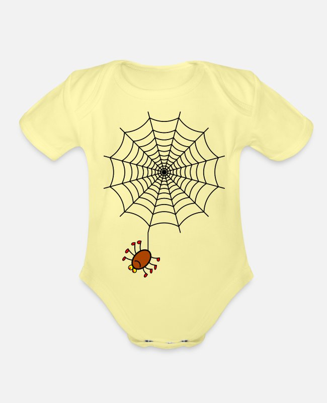 Shoplifter Baby One Pieces - Spider Web - Organic Short-Sleeved Baby Bodysuit washed yellow