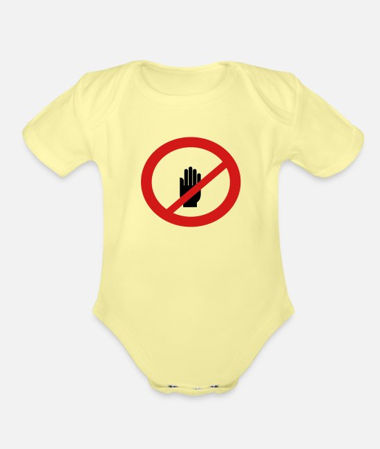 Quarterback Baby One Pieces - Do Not Touch Sign - Organic Short-Sleeved Baby Bodysuit washed yellow
