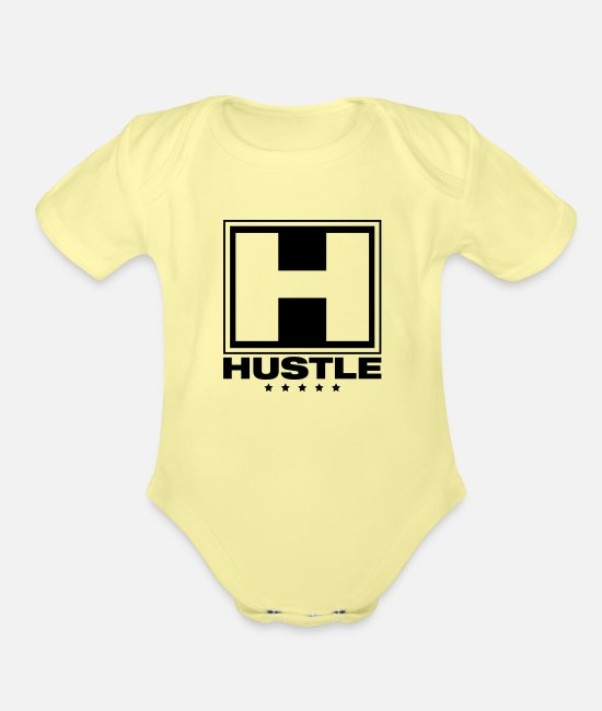 Play Baby One Pieces - hustle_vu1 - Organic Short-Sleeved Baby Bodysuit washed yellow