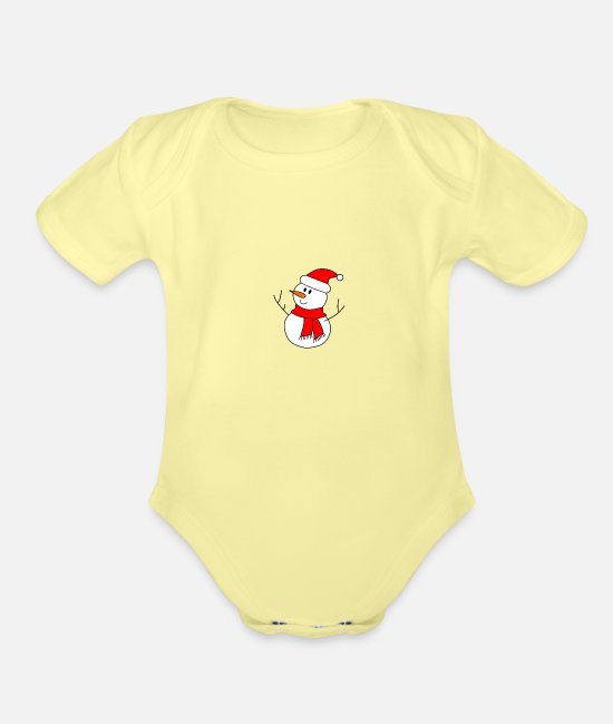 Candy Cane Baby One Pieces - snowman - Organic Short-Sleeved Baby Bodysuit washed yellow