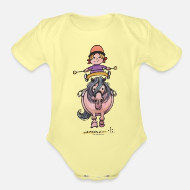 Thelwell Thelwell Rider Balancing On Cute Horse - Organic Short-Sleeved Baby Bodysuit