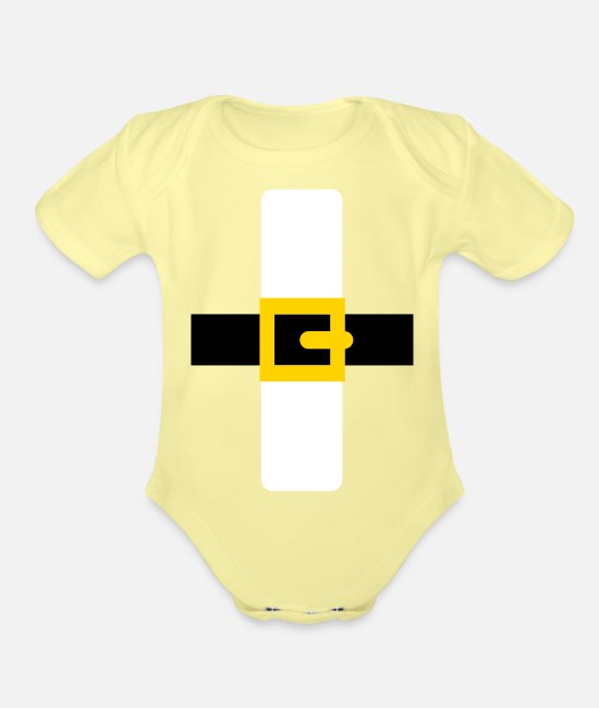 Christmas Baby One Pieces - Santa Claus - Organic Short-Sleeved Baby Bodysuit washed yellow