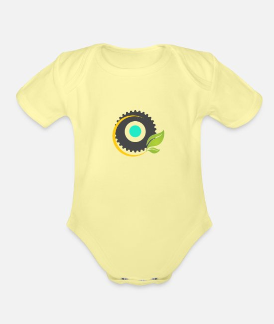 Man Baby One Pieces - New design t shirt - Organic Short-Sleeved Baby Bodysuit washed yellow
