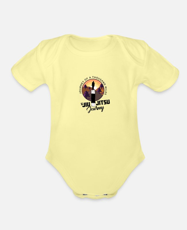 Mma Baby One Pieces - Bjj Journey - Organic Short-Sleeved Baby Bodysuit washed yellow