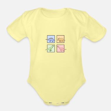Colcurful Pastel dinosaur - Organic Short-Sleeved Baby Bodysuit