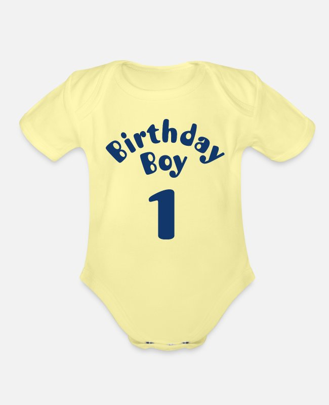 1 Baby One Pieces - BIRTHDAY BOY 1 - Organic Short-Sleeved Baby Bodysuit washed yellow