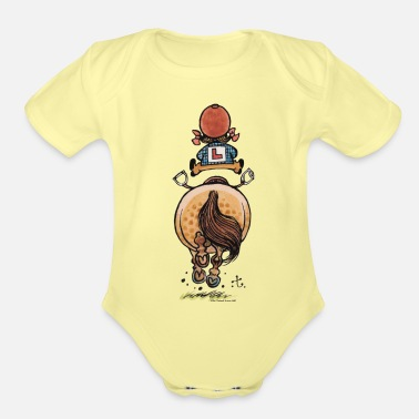 Thelwell Thelwell Funny Riding Beginner Illustration - Organic Short-Sleeved Baby Bodysuit