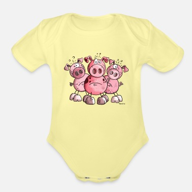 Pig Three funny pigs - Pig - Sow - Cartoon - Gift - Organic Short-Sleeved Baby Bodysuit