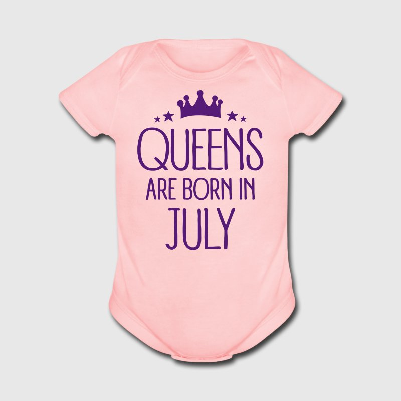 Queens Are Born In July - Short Sleeve Baby Bodysuit