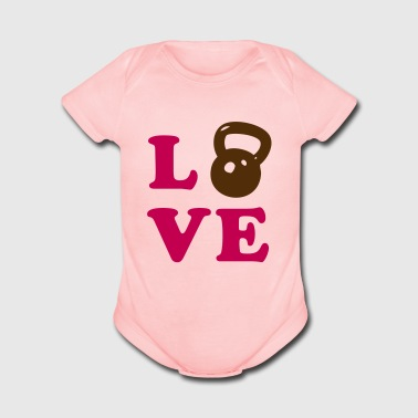 Love Kettlebell- weight lifting - Organic Short Sleeve Baby Bodysuit