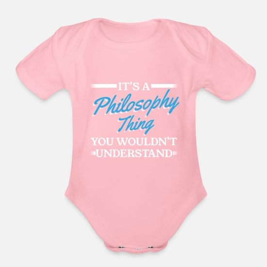 Philosophy Of Life Baby Clothing - Philosophy Philosophy Thing - Organic Short-Sleeved Baby Bodysuit light pink