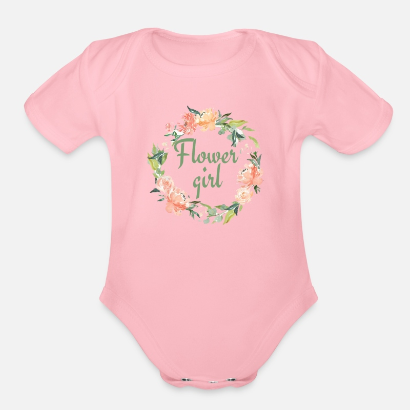 Flower Girl Baby Clothing - Flower Girl - Organic Short-Sleeved Baby Bodysuit light pink