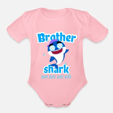 Shark Brother Shark Doo Doo Doo Toddler Shirt - Organic Short-Sleeved Baby Bodysuit