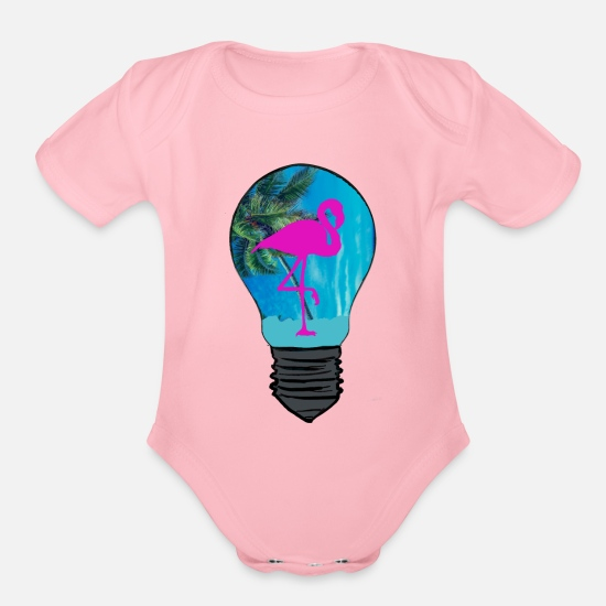 Gift Idea Baby Clothing - Flamingo in Light Bulb - Organic Short-Sleeved Baby Bodysuit light pink