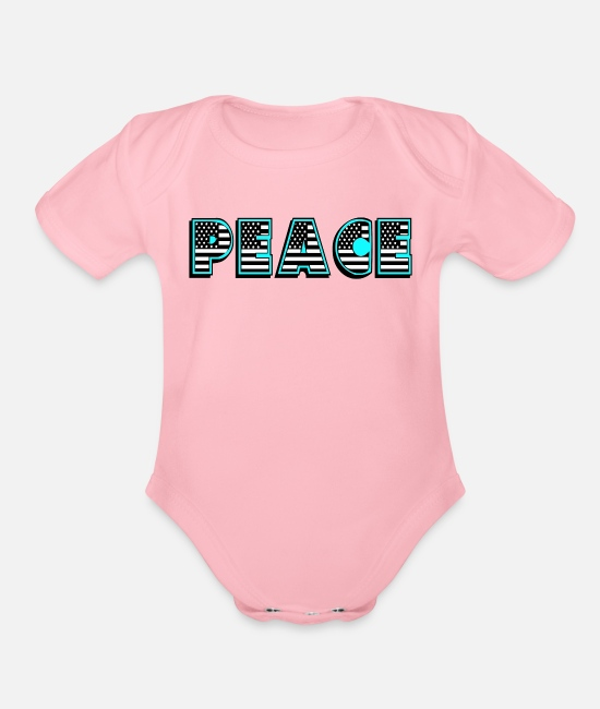 Peace For Paris Baby One Pieces - Peace - Organic Short-Sleeved Baby Bodysuit light pink