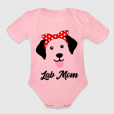 Labrador Retriever Face with Bandana Black Lab Mom - Organic Short Sleeve Baby Bodysuit