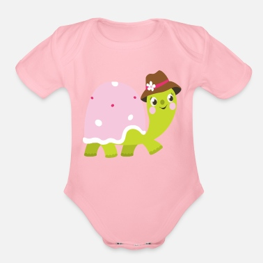 Caterpillar Beautiful kids and baby Drawing Turtle - Organic Short-Sleeved Baby Bodysuit