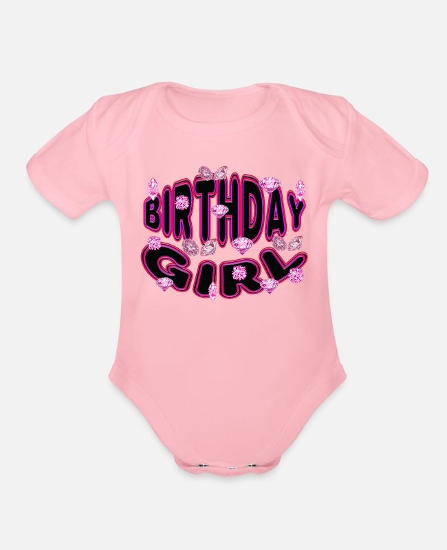 Hen Night Baby One Pieces - Birthday Girl - Organic Short-Sleeved Baby Bodysuit light pink
