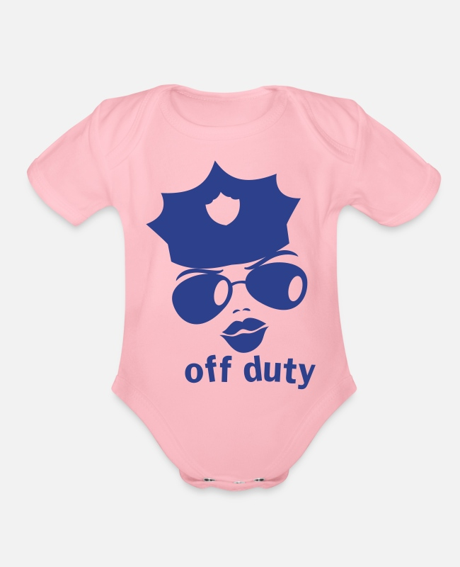 Enforcement Baby One Pieces - off duty police woman face - Organic Short-Sleeved Baby Bodysuit light pink