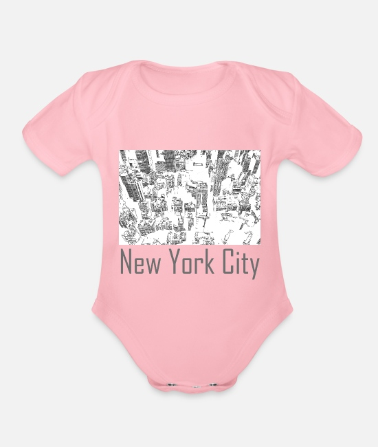 New York City Baby One Pieces - New York City - Organic Short-Sleeved Baby Bodysuit light pink