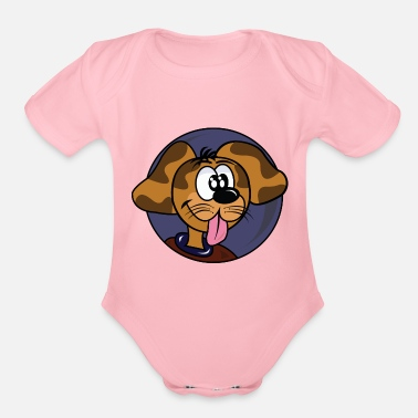 Cartoon dog - Organic Short-Sleeved Baby Bodysuit