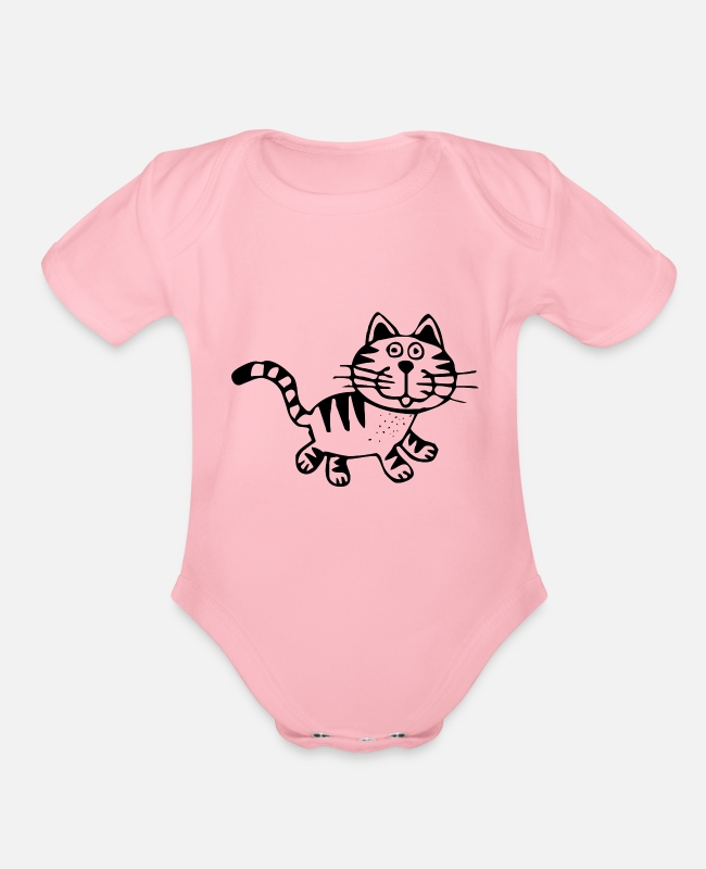 Wild Cat Baby One Pieces - Tiger - Organic Short-Sleeved Baby Bodysuit light pink
